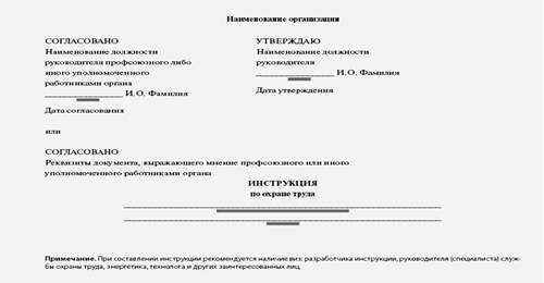 Титульный лист инструкции по охране труда для работника