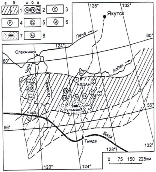Схема размещения месторождений полезных ископаемых на Алдано-Становом щите