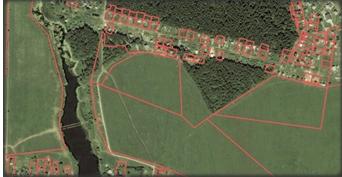 План местности с нанесёнными кадастровыми границами земельных участков