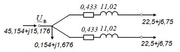 Упрощенная схема замещения трансформатора ТРДЦН-63