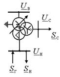 Изображение трёхобмоточного трансформатора в электрических схемах