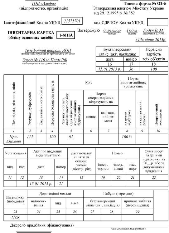 Карточка Учета Нематериальных Активов образец заполнения