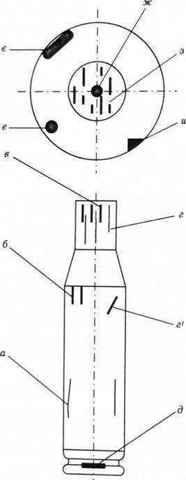 Схема 21. в Следы на гильзах: