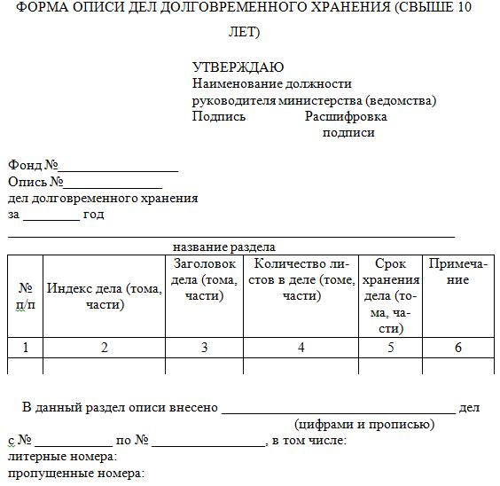 литерные номера в описях дел