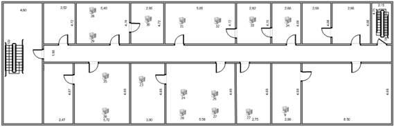 Постановка задачи дипломного проектирования Анализ предпроектной  Поэтажный план административного здания рис 1 3 1 4 содержит информацию о размещении рабочих мест