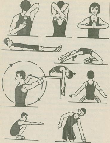 Контрольные упражнения тесты для определения уровня развития  Контрольные упражнения для оценки гибкости различных суставов приведены на рисунке 4 6 9