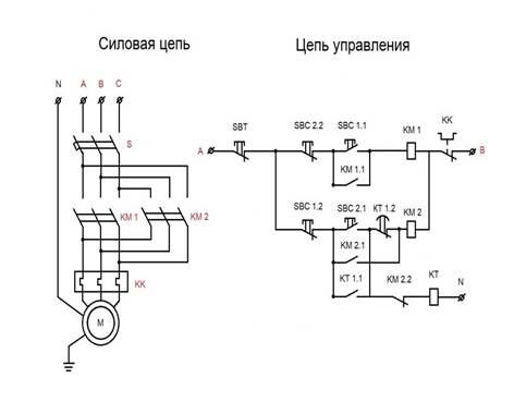 Запуск электродвигателя с реле времени схема